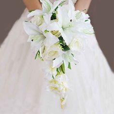Cheap Wedding Bouquets, Lily Bouquet Wedding, Lily Wedding, Floral Wedding, Wedding Flowers, Bridal Bouquets, Bouquet Flowers, Wedding Cake, Maroon Wedding