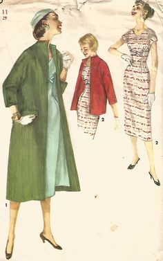 VINTAGE MISSES' ONE-PIECE DRESS AND COAT IN TWO LENGHTS SEWING PATTERN 1956 ©