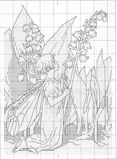 Cross stitch - fairies: Lily of the valley fairy - Cicely Mary Barker (chart)