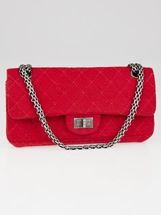 Chanel Dark Pink 2.55 Quilted Jersey Reissue East/West Small Flap Bag