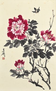 christiesauctions:  Wang Xuetao (1903-1982)Flowers and Butterfly Fine Chinese Paintings