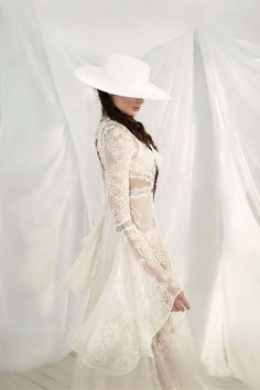 hen the bridal world's current girl-crush, one of the industry's leading boho dress designers and maybe even yours truly get on board with a trend… Bohemian Wedding Dresses, Chic Wedding, Wedding Gowns, Ball Gown Dresses, Bridal Dresses, Bridal Hat, The Dress, Bridal Collection, Marie