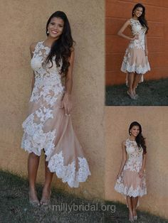 A-line Pink Homecoming Dresses,Appliques Lace Prom Dresses,Scoop Neck Short Cocktail Dress,Tulle Asymmetrical Evening Party Gowns