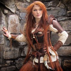 steampunk warrior hair - Google Search Fantasy Dress, Fantasy Girl, Red Hair Woman, Steampunk Design, Fantasy Photography, Warrior Girl, Viking Woman, Steampunk Costume, Fantasy Costumes