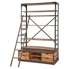 Organize leather-bound tomes, heirloom curios, and travel souvenirs in this wood and iron bookcase. Showcasing removable shelves and a coordinating ladder, i...