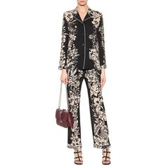 Valentino Floral-Printed Virgin Wool Crêpe Trousers (£815) ❤ liked on Polyvore featuring pants, floral pants, floral printed pants, valentino pants, floral trousers and flower print pants