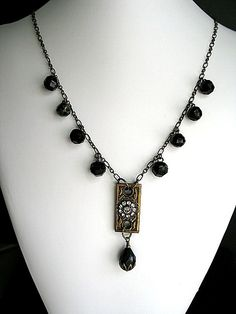 Escutcheon Victorian Buttons Black Jet Beads