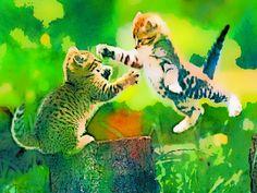 Gatos jugando en la verde pradera