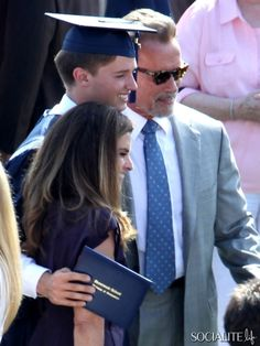 Patrick Schwarzenegger, son of actor Arnold Schwarzenegger, celebrates his graduation with his family: mother Maria Shriver, his dad Arnold, and two sisters Katherine and Christina in Los Angeles, California on June 1st, 2012.