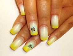 airbrushed nails designs | Yellow ombre airbrush nails with flower design. | NAil TIp♥손톱