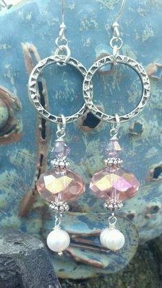 Faceted pink glass, pearls, silver rings, Rose Swarovski crystals earrings