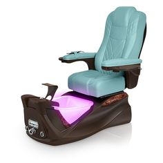 Infinity pedi-spa shown in Neptune Ultraleather cushion, Mocha base, Aurora LED Color-Changing bowl (shown in purple)