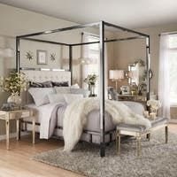 Natasha Modern and Contemporary Platform Canopy Bed - Overstock - 31227065 - King King Size Canopy Bed, Metal Canopy Bed, Modern Canopy Bed, Canopy Beds, Queen Canopy Bed Frame, Canopies, Bedding Master Bedroom, Bedroom Decor, Queen Bedroom Sets