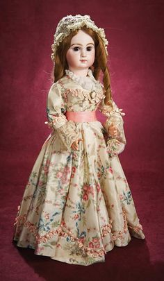 """. Beautiful French Bisque Brown-Eyed Lady Doll by Jumeau 25"""" (64 cm.) Bisque…"""