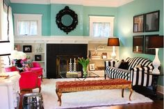 Inspiration turquoise pour vos salons ~ Décoration Salon / Décor de Salon