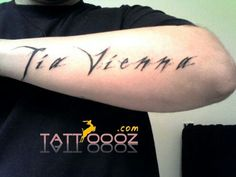 Name tattoos on men'z arms with black ink :-)  For more stylish name tattoos visit http://tattoooz.com