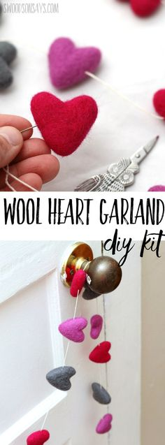 Valentine's Day hand embroidery patterns Simple Valentine's Day decor ideas can be beautiful, too! Check out this needle felted wool heart garland kit; it takes less than 10 minutes to make and you can choose your colors! Felt Garland, Diy Garland, Crafts For Teens, Crafts To Sell, Hand Embroidery Patterns, Embroidery Designs, St. Patrick's Day, Felted Wool Crafts, Valentine Day Crafts
