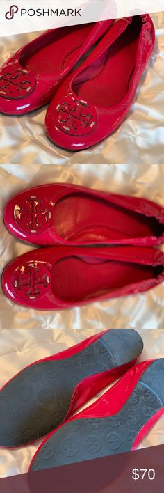 c80cba4f8 Tory Burch Reva Flat Patent Leather Pink 🖤 shiny patent leather in dark  pink color (