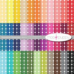 Rainbow Hanging Dots Digital Scrapbook Paper by Moo and Puppy