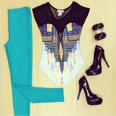 #turquoise #bodysuit #heels