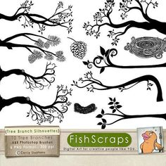 tree branches silhouette clipart