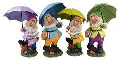 Gartenzwerg, Zwerg, Gnom mit Schirm in 4 verschiedenen Ausführungen
