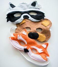 Tier Faschingsmasken - Fuchs, Bär und Waschbär