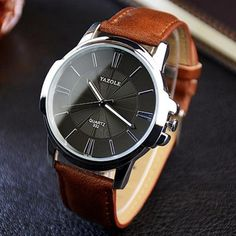 Yazole 332 Men Stylish Cowhide Band Iridescent Quartz Watch - Earthy c – vally shop deal Stylish Watches, Casual Watches, Cool Watches, Men's Watches, Male Watches, Cheap Watches, Watches Online, Dress Watches, Elegant Watches