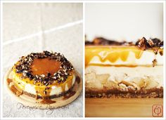 Cream cheese cake with apple filling, covered with salted caramel and spicy hazelnuts