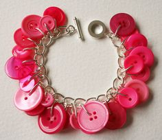 Button Bracelet Bright Pink Mix by MrsGibson on Etsy