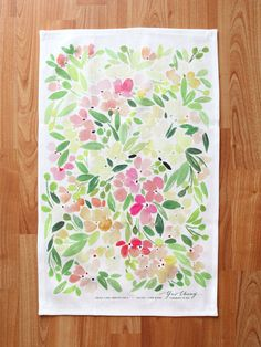 Floral Melody Watercolor Tea Towel van YaoChengDesign op Etsy