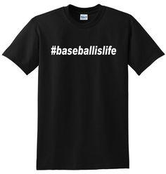 Baseball Shirt Tshirt Tee- Baseball Is Life #Baseballislife  Baseball Fan Shirt, Tshirt.  Gift for Baseball Player - Coach.  Mens baseball