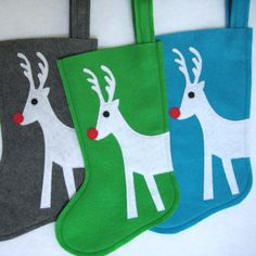 Felt Christmas Stocking  Rudolph by stitcholicious on Etsy