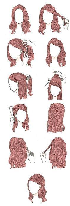 Cute Simple Hairstyles, Braided Hairstyles, Hairstyle Short, Trendy Hairstyles, Natural Hairstyles, Easy Hairstyles For Prom, Cool Hairstyles For School, Girl Hairstyles, School Hairdos