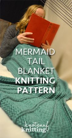 Seamless Ariel mermaid tail blanket knitting pattern! It is every little girl's dream to have her very own mermaid tail. This is a knitting pattern for our very popular Ariel Mermaid Tail. This mermaid blanket is available in sizes from XS - XL. This pattern is perfect for preteen - adult sizes. Click through to get the knitting pattern from KnotEnufKnitting.