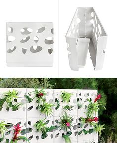 GardenWall is a stackable wall system that can be built both outdoors or indoors. It is designed to hold plant pots but looks great without foliage as well. Design by Gordon Tait.