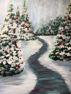This bright and merry winter trail is named Evergreen Dream, and we'd love for you to create it with us at Pinot's Palette! #holidaydecor #Christmasdecor #Christmastree #holidaypainting #Christmaspainting