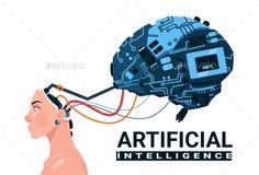 Female Head With Modern Cyborg Brain