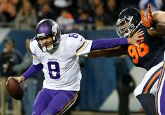 Monday Night Football: Vikings vs. Bears:   20-10, Bears  -     Mon. October 31, 2016. Minnesota Vikings quarterback Sam Bradford (8) is sacked by Chicago Bears defensive end Akiem Hicks (96) during the first half of an NFL football game in Chicago, Monday, Oct. 31, 2016.