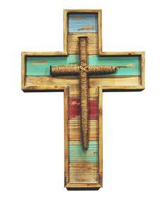 Wood & Rope-Wrapped Metal Spike Wall Cross