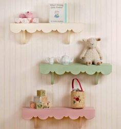Festonné - étagère en bois décor - Shabby Chic - pépinière - Childs clayettes