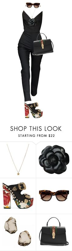 """""""Adopt the pace of nature: her secret is patience."""" by quiche ❤ liked on Polyvore featuring Gogo Philip, Chanel, FAUSTO PUGLISI, Sun Buddies, Siman Tu and Gucci"""