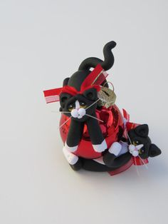 Polymer Clay Christmas Ornament Tuxedo Cats Playing