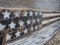 """Rustic Distressed Black and White American Flag 4th of July Memorial Day USA Wood Sign 36"""" 48"""" on Etsy"""