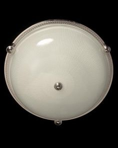 Marvin Alexander,Inc. Nickeled bronze and ribbed glass flushmount with button, three lights