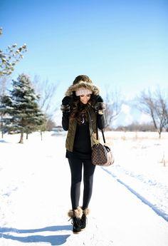 "Monday, January 9, 2017 Casual Snow Day Attire -  PUFFER VEST: H&M | TEE: BP | LEGGINGS: Zella | BOOTIES: Cecelia New York c/o | HANDBAG: Louis Vuitton | SUNGLASSES: random cheap store | BEANIE: old  | WATCH: Nixon | BRACELETS: The Styled Collection c/o, David Yurman | MITTENS: Nordstrom | LIPS: ""Obvi"""
