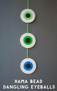 Spooky Dangling Eyeballs Made From Hama Beads