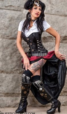 Steampunk dress: corset with chains and metal buckles with taffeta bustle skit.
