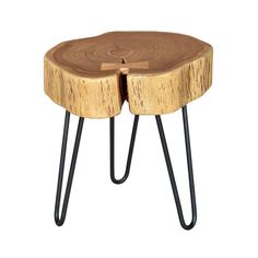 Bring the rustic chic look into your home with this stunning Live Edge Side Table.  Featuring a natural wood table top and sleek, metal legs, it's the perfect organic modern accent to your soothing nat...  Find the Live Edge Side Table, as seen in the The Treehouse at Camp Wandawega Collection at http://dotandbo.com/collections/the-treehouse-at-camp-wandawega?utm_source=pinterest&utm_medium=organic&db_sku=90853