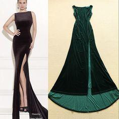 Fenda alta de veludo vestido em preto sem mangas sereia mulheres Formal vestidos de inverno